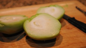 Center of the Chayote with pit