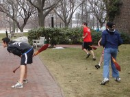 The team warms up with a game of bludger tag at practice.   Photo by Rachel Stine