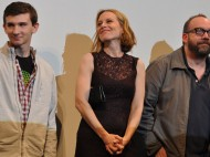 The leads of Win Win: Alex Shaffer, Amy Ryans, and Paul Giamatti. Photo by Monica Castillo
