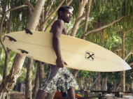 "Surfer Ezekiel prepares to take on the International circuit. Still from ""Splinters."""