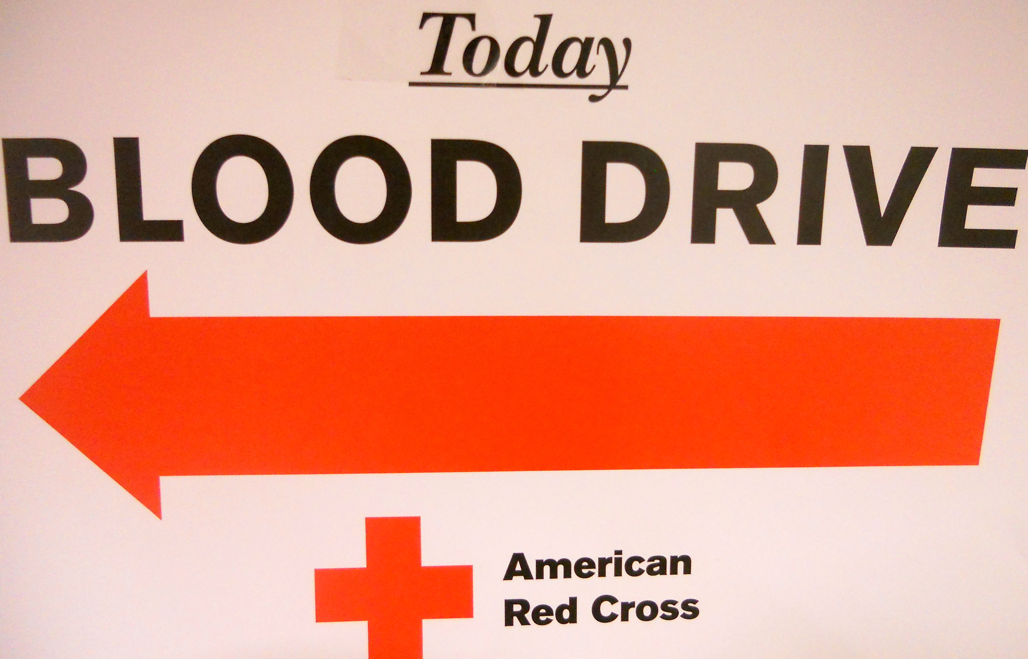 photo of a blood drive sign
