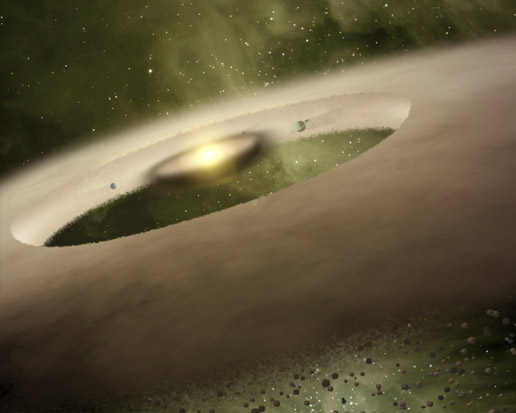 Digital rendition of UX Tau A, a star system that is one million years old and about 450 light-years from Earth.