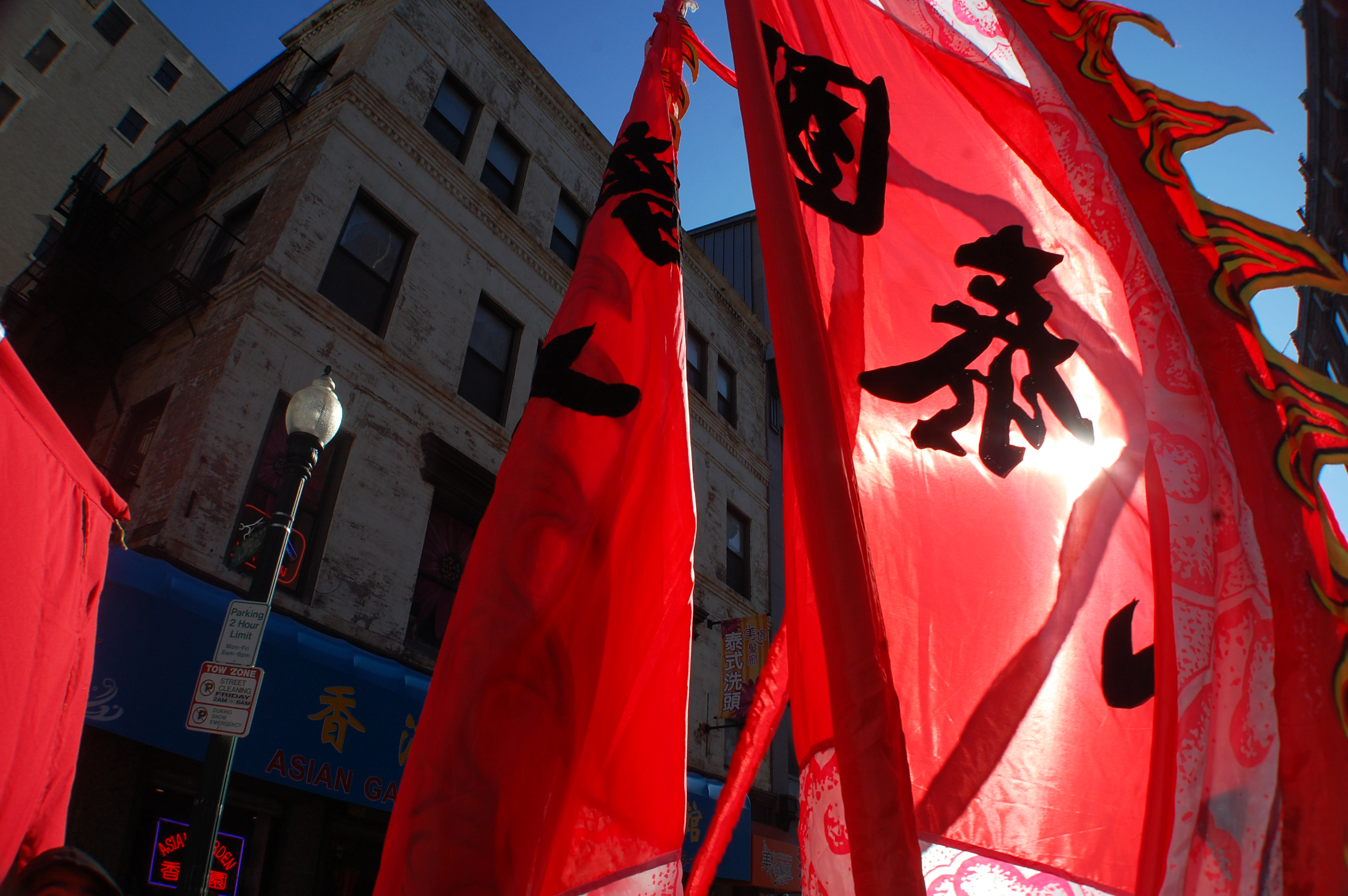Chinese flags were raised high through the streets of Chinatown