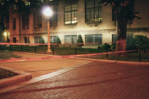 An area outside the School of Theology marked off with red tape. Photo by Marry Pivazian.