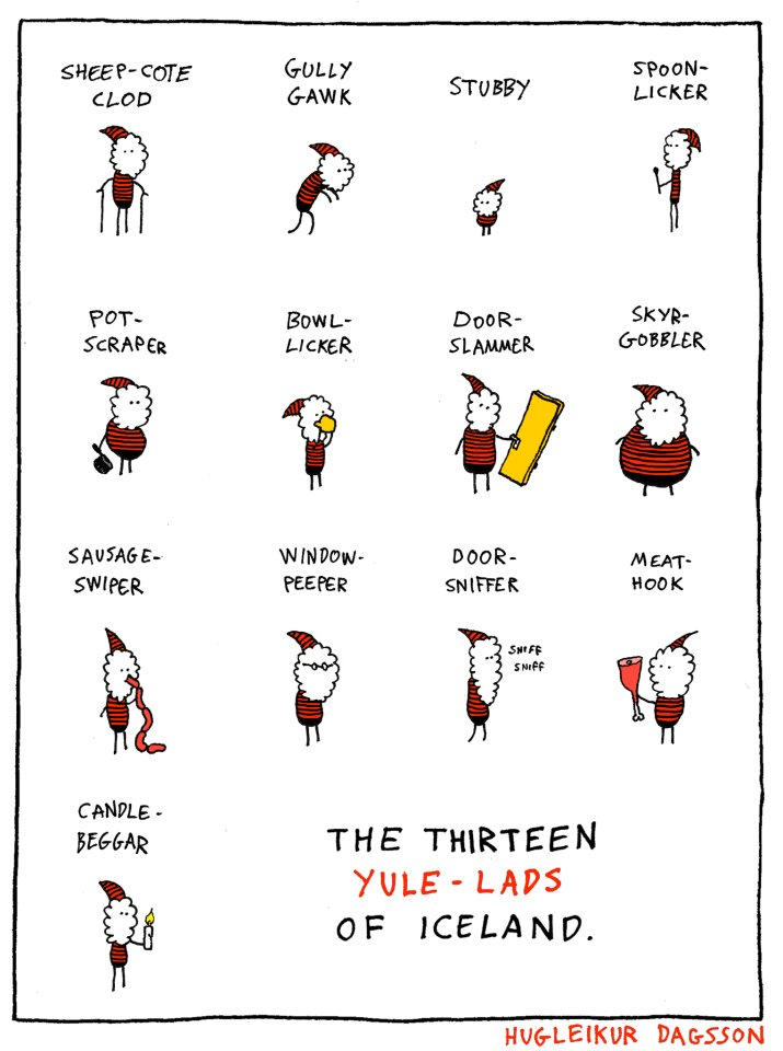 The 13 Yule Lads. | By Hugleikur Dagsson, courtesy of the Reykjavik Grapevine