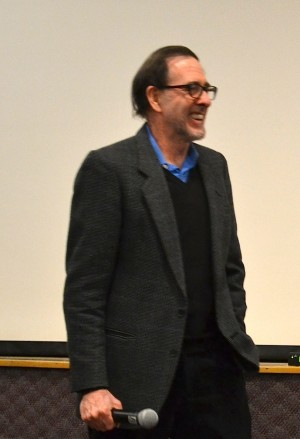 Filmmaker Ross McElwee smiles during Q&A. | Photo by Cecilia Weddell