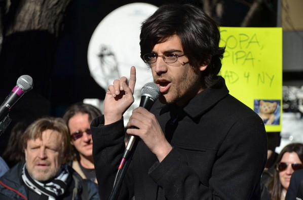 Aaron Swartz speaks out at a protest against the controversial PIPA bill. | Photo courtesy Flickr via selfagency.
