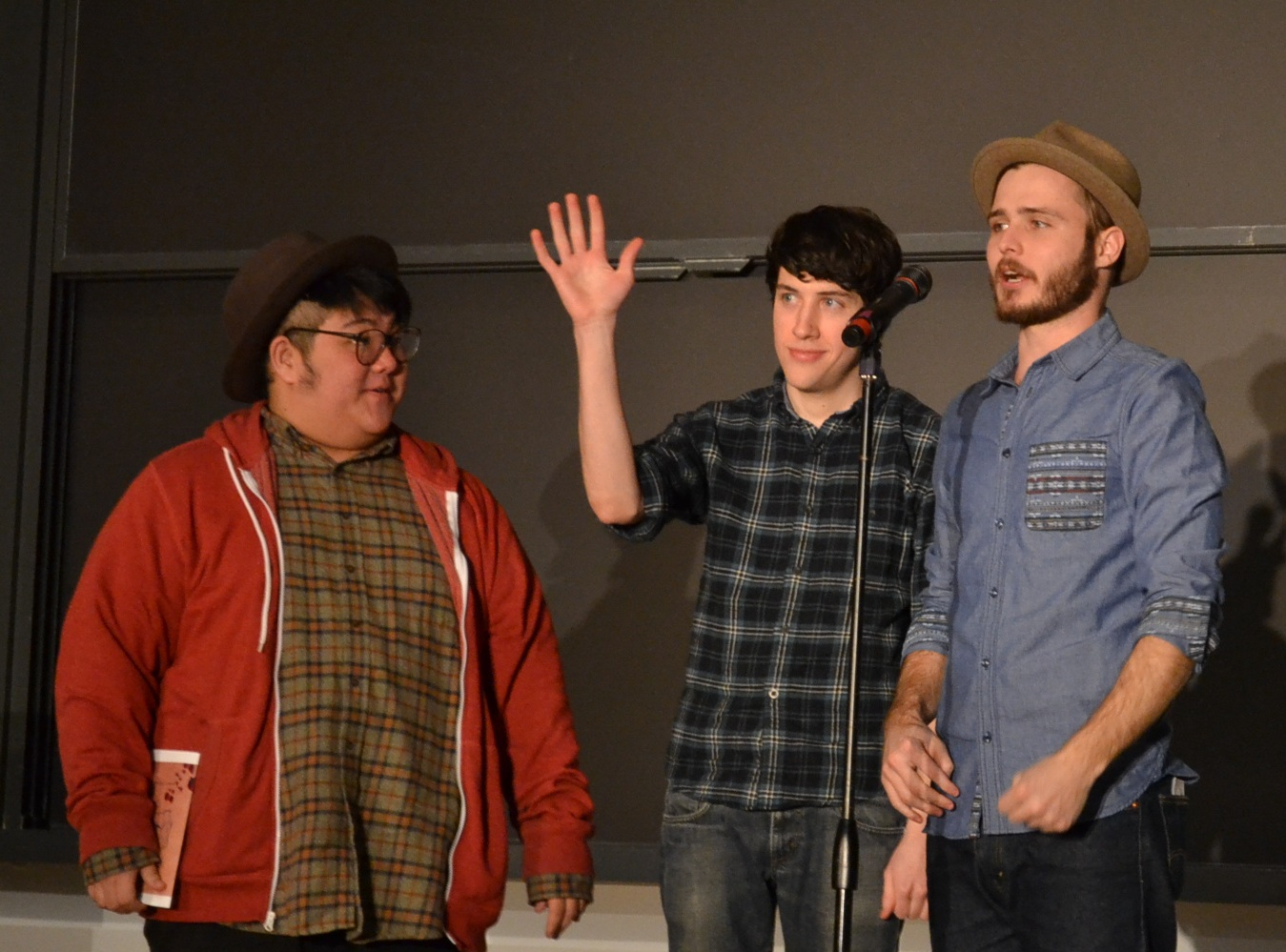 From left: Hieu Nguyen, Dylan Garity, and Neil Hilborn of The Good News Poetry Tour | Photo by Cecilia Weddell