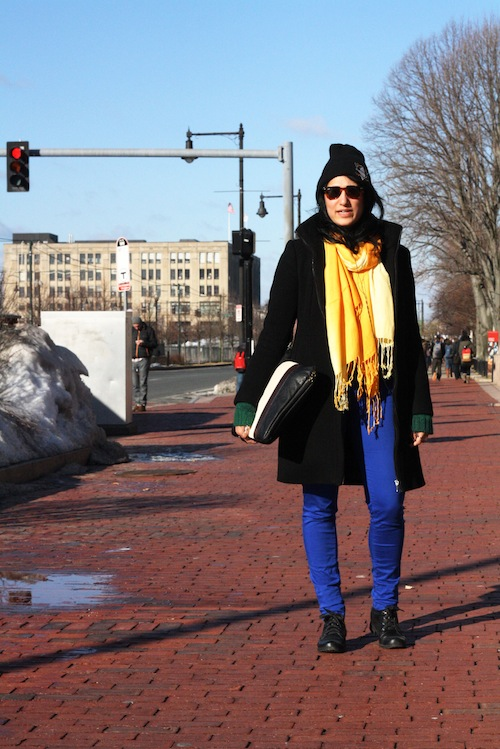 Sithara Reddy (CAS '13) is winter-appropriate in black and white with touches of bright cobalt and sunny yellow. Photo by Sharon Weissburg.