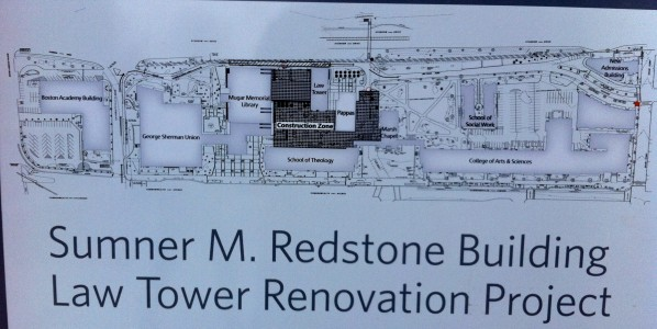 Detour signage for the construction of BU Law's Sumner M. Redstone Building | Photo by Thomas Pelkey