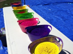 Aside from music and free food, and games, the HSC also provides students with large buckets of vibrant colored powder to throw at one another. | Photo courtesy of the BU Hindu Students Council