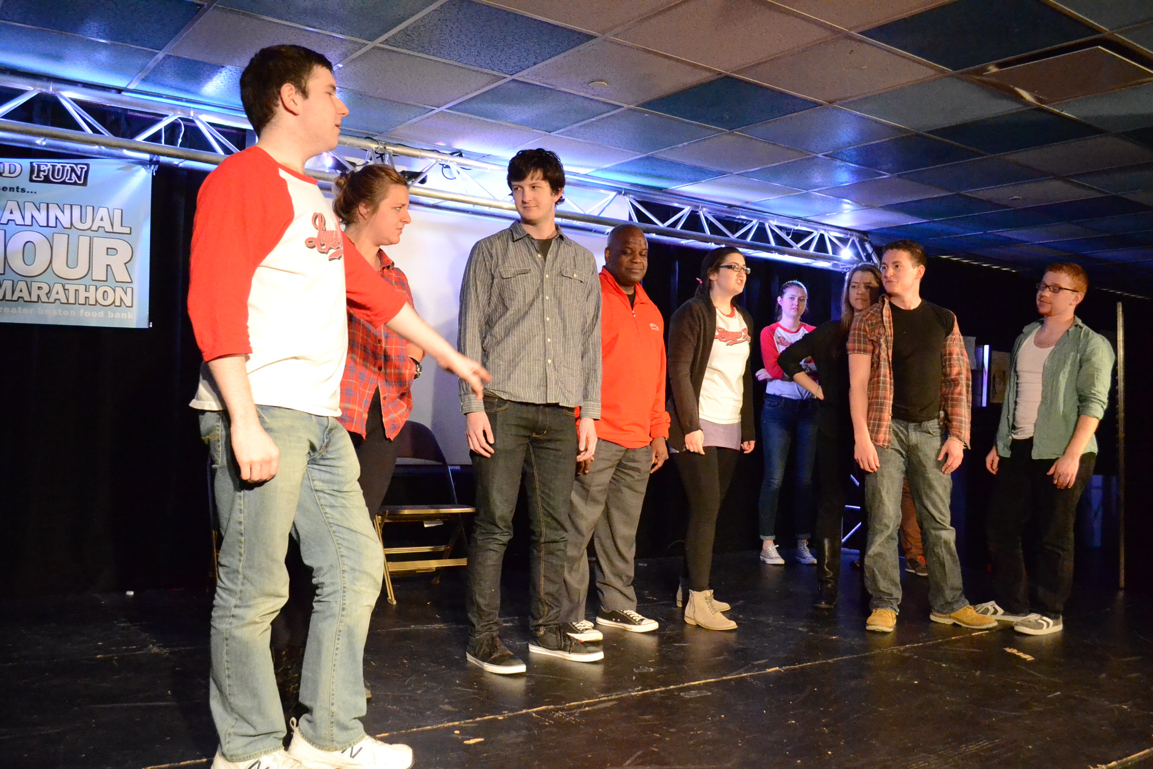 """Dean of Students Kenneth Elmore joined Liquid Fun on stage during the """"Newbie Hour."""" 