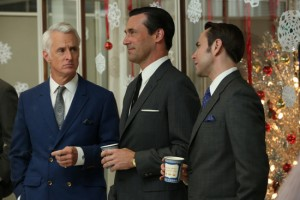 Roger and Pete are inverting their usual colors (Roger usually wears a grey suit, Pete usually wears a blue suit, and their tie colors are also inverted). Symbolic? Photo via amctv.com.