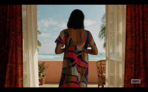 Megan in Hawaii and a Pucci caftan, a powerful woman in her own right. Screenshot by Sharon Weissburg.