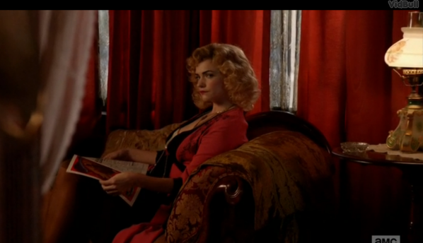 The woman in red in Don's flashback. Screenshot by Sharon Weissburg.