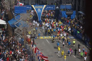 The finish line of the 117th Boston Marathon. | Photo courtesy Flickr Commons via user hahatango