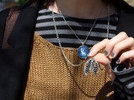 Kah's ribcage necklace is so lovely and delicate. What a find! Photo by Sharon Weissburg.