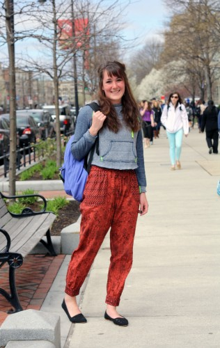 Lisa's (CAS '16) Urban Outfitters pants complement her neon-trimmed sweatshirt perfectly. And look at that bag! Photo by Sharon Weissburg.