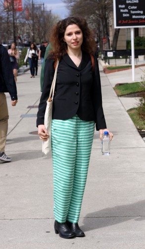 Elina (PhD) wears J. Crew trousers with a basic black blazer, tapping into the recent chic pajama trend. Photo by Sharon Weissburg.