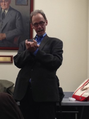 New York Times writer David Carr speaks to students about the future of journalism.