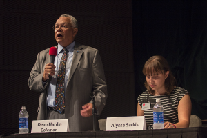 SED Fall Convocation and mayoral debate moderators Dean Hardin Coleman and Alyssa Sarkis. | Photo by Katy Meyer.