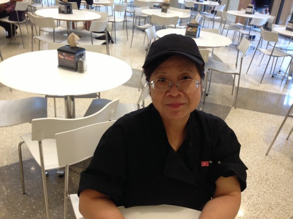 Sandi, the friendliest dining hall cashier in the universe.   Photo by Cecilia Weddell