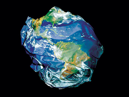 A crumpled earth, not doing so hot...or maybe too hot