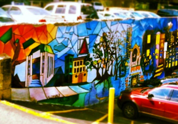 This mural painted by BU students in on Comm Ave near CFA. | Photo by Cecilia Weddell