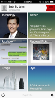 Flipboard news feed, including Facebook and Twitter accounts