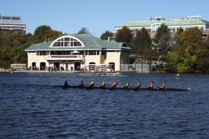 Across the river from the BU boathouse, dozens of spectators lined the shore of the Charles - Photo by Hanna Klein