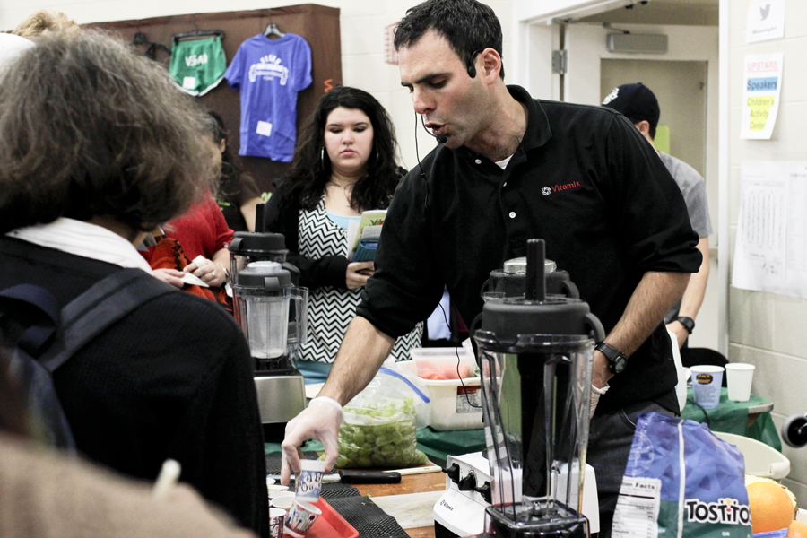 Everything from food to blenders were found at the Boston Vegetarian Food Festival.   Photo by Katy Meyer.