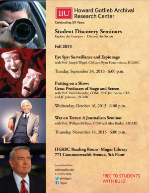 Student Discovery Seminars 2013 | Flyer courtesy of the HGARC