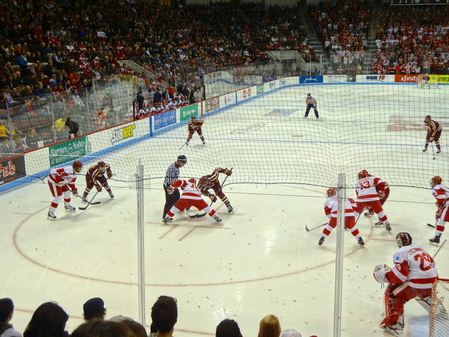 The BU student section roared as players set up for a faceoff - Photo by Hanna Klein