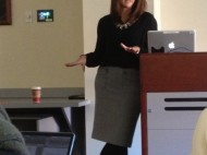 Erica Hill, COM '98, returns to her alma mater to speak about her career in broadcast journalism.   Photo by Nicole Seese
