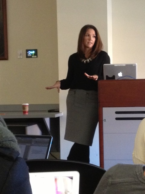 Erica Hill, COM '98, returns to her alma mater to speak about her career in broadcast journalism. | Photo by Nicole Seese