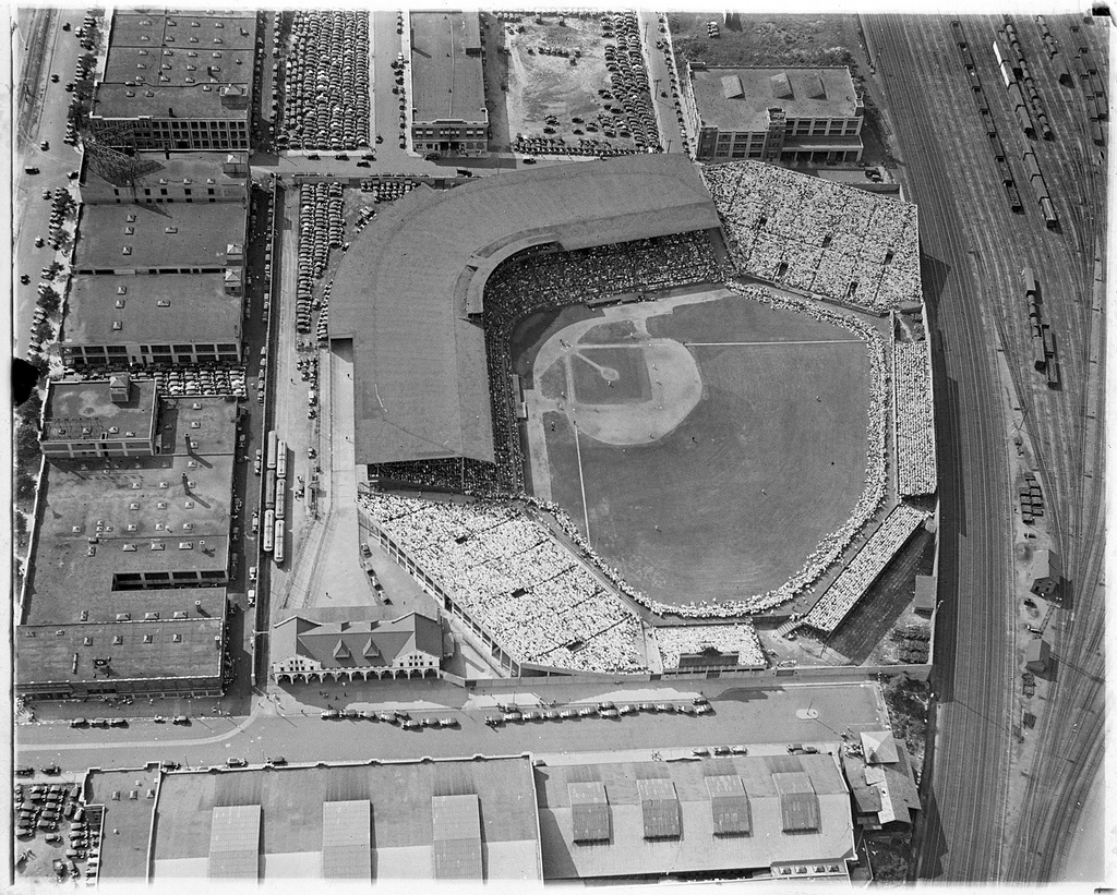 An aerial photo of Braves Field from 1933. Visible on the bottom left is the custom-builty trolley stop. | Courtesy of the Boston Public Library, Leslie Jones Collection.