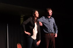 SNL's Cecily Strong & Mike O'Brien perform in front of hundreds of BU students | Photo by Hanna Klein
