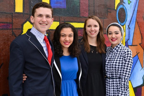 Candidate for President Alexander Golob (CFA '16, CAS '16), Candidate for Vice President Sandra Soto (SED '16), Candidate for Vice President of Internal Affairs Cassandra Shavney (CAS '15), Candidate for Vice President of Finance Salma Yehia (CGS '13, CAS '15). Photo courtesy of True BU.