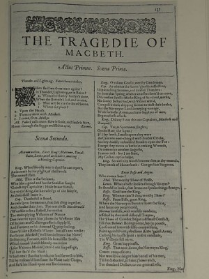 The first page of Macbeth from a facsimile of Shakespeare's 1623 First Folio