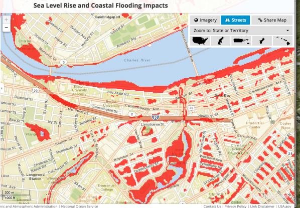 A screen shot of an interactive map from the National Oceanic and Atmospheric Administration showing areas that will become more susceptible to flooding in some sea level rise scenarios. The map is available to the public at the new climate.data.gov