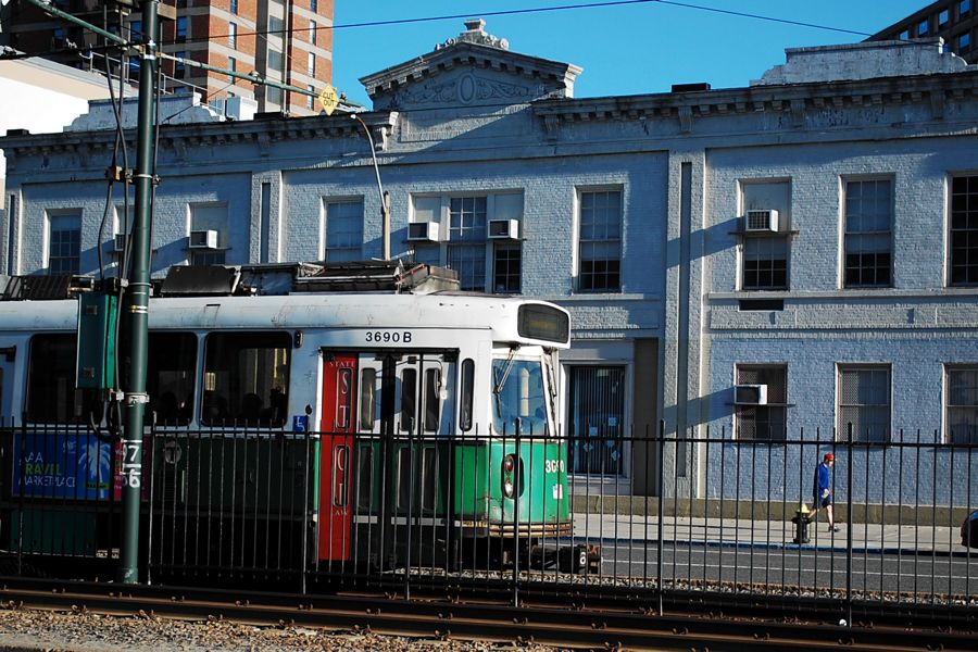 The T passes by the Blandford Street stop on BU's West Campus.   Photograph by Ashley Hansberry.