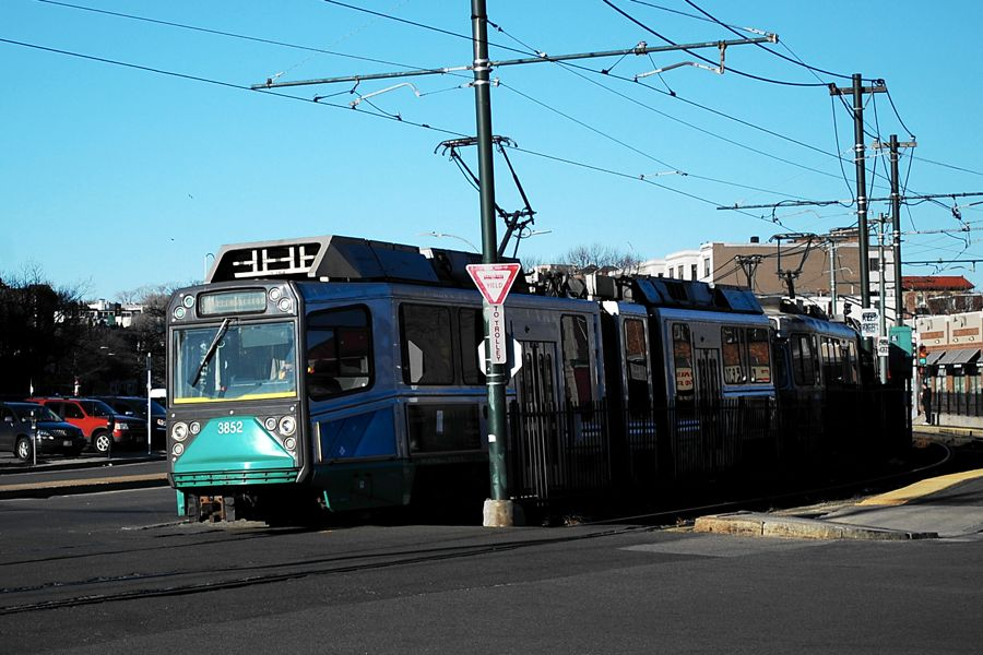 The T passes Harvard Street, carrying commuters.   Photograph by Ashley Hansberry.