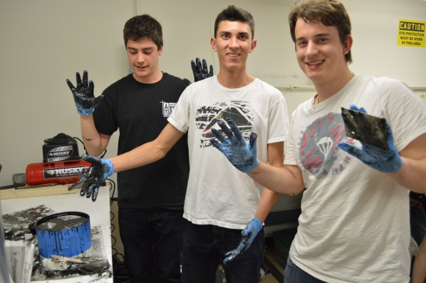 Pictured from left to right, Jeremy Pedro, Dan Poe and Peter Ojdrovic, all freshman in the College of Engineering.  Photo by Jake Lucas