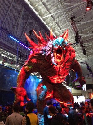 Evolve's monster was the greatest booth spectacle at PAX East this year. Photo courtesy of Andrew Evans.