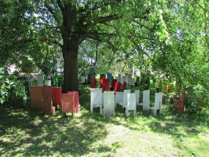 """Gail Bos' """"Children's Chair Project"""" places a cluster of miniature chairs around a large tree to represent diversity and our need to prepare our children for the future 