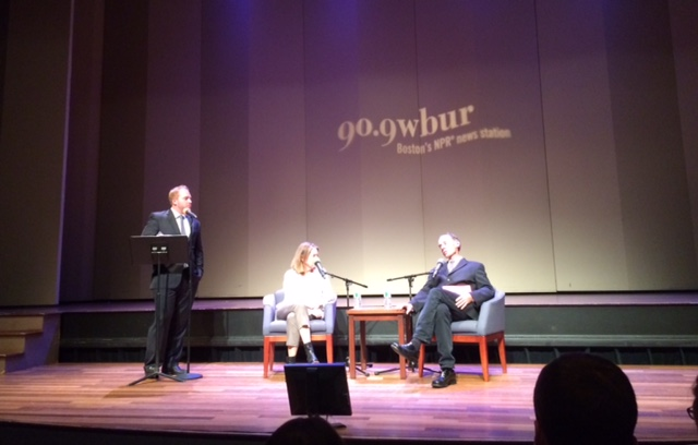 Jeremy Hobson, co-host of Here & Now on WBUR and NPR, with Times reporter David Carr and former Times executive editor Jill Abramson | photo by Michelle Cheng.
