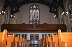 The calming quiet of Marsh Chapel offers a nice respite from Comm Ave | Photo courtesy of Clare Stonich