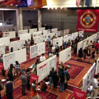 Metcalf Ballroom turned into a sea of research posters the morning of the Symposium | Photo courtesy of Beth St. John