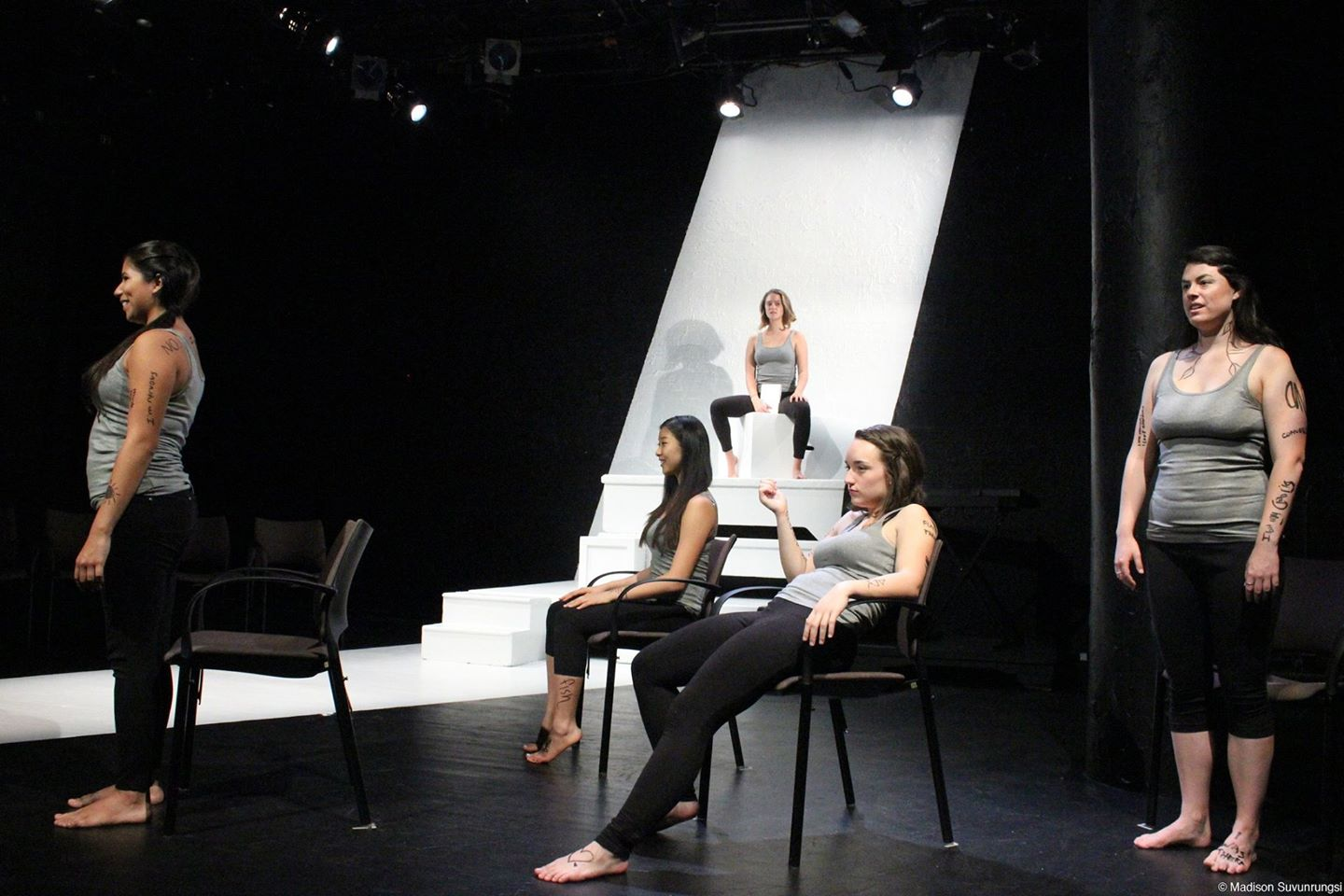 The cast of The Vagina Monologues on stage.  Photo by Maddie Suvunrungsi
