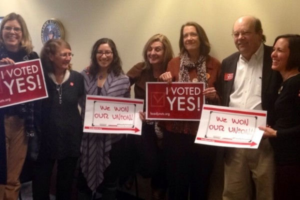 Adjunct professors beaming after their union vote win | Photo courtesy of Bayla Ostrach